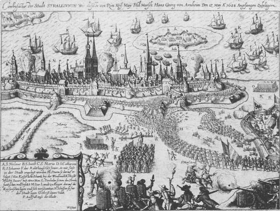 """""""Belagerung Stralsunds durch Wallenstein 1628, Kupferstich auf einem zeitgenössischen Flugblatt."""" - Artist Unknown"""