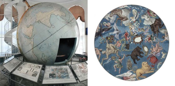 The globe was made in 1654-1664 under the supervision of A. Olearius in Gottorp, the resident of the Duke of Holstein. The planetarium globe of 3.1 meters in diameter was given to Peter the Great during the Northern War and brought to Petersburg in 1717.