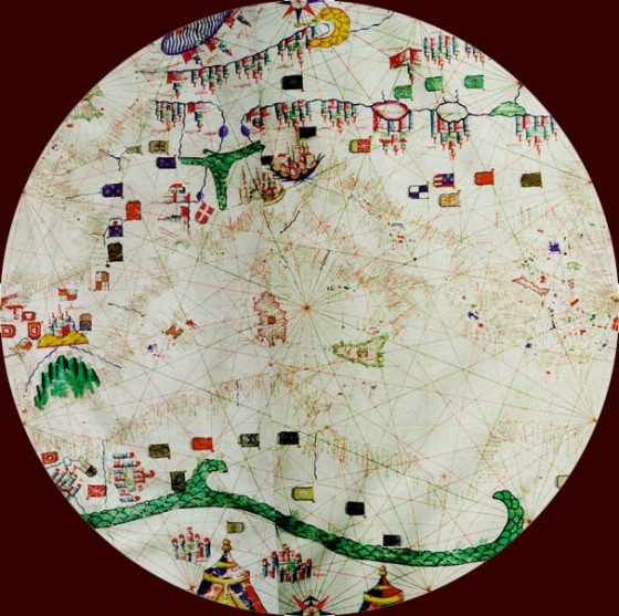 "1466 Portolan Chart, Petrus Roselli, Cartographer. ""Features that usually appear on portolan charts include: a network of lines made within a circle, coastlines of lands, place-names, scales of distance, a compass showing cardinal directions, and indications of shoals, reefs, and islands along coastlines. Source: James Ford Bell Library, University of Minnesota."