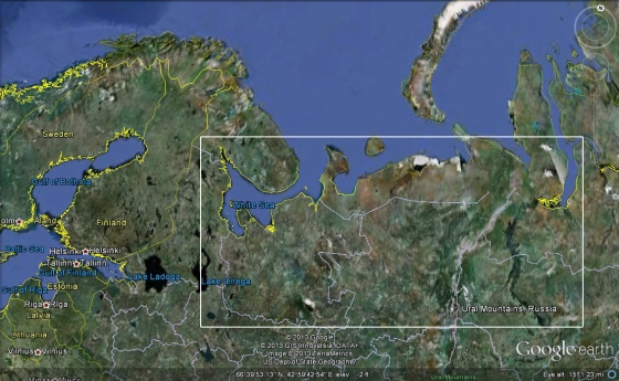 The place of the dead described by ancient Icelanders, somewhere between the Ural Mountains and the White Sea.